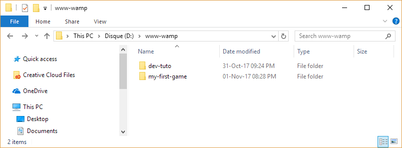 folder of the path to add a virtual host