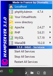 localhost of wamp server apache