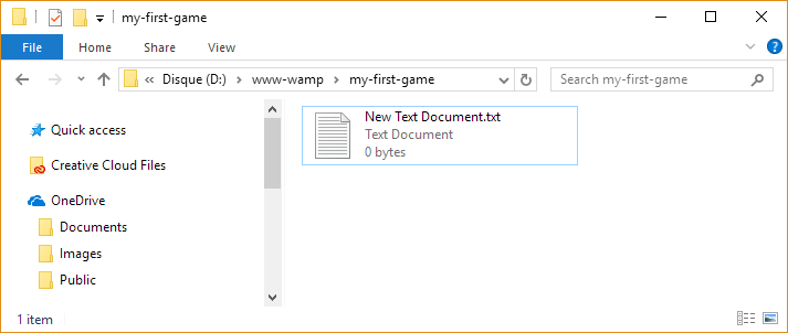 create a new HTML file
